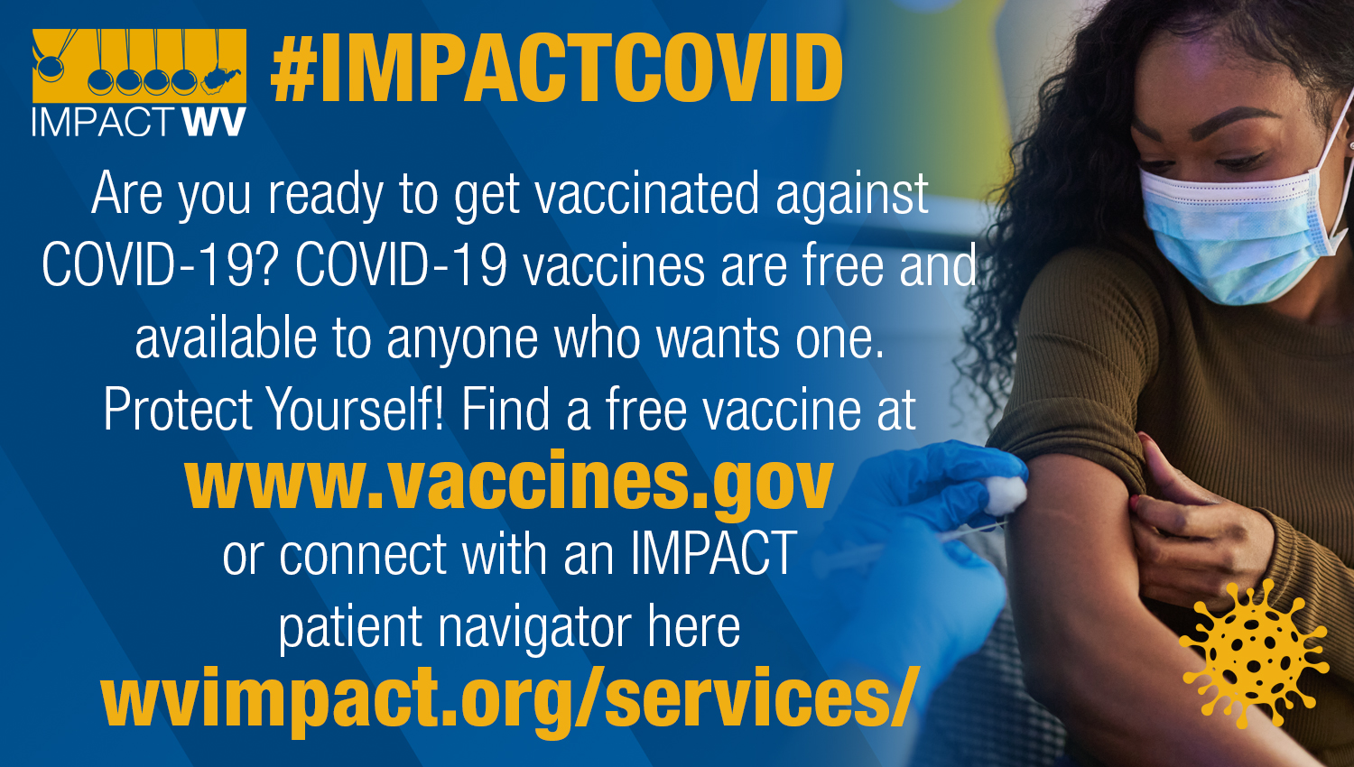 an image with the Are you ready text featuring a woman getting her COVID vaccine