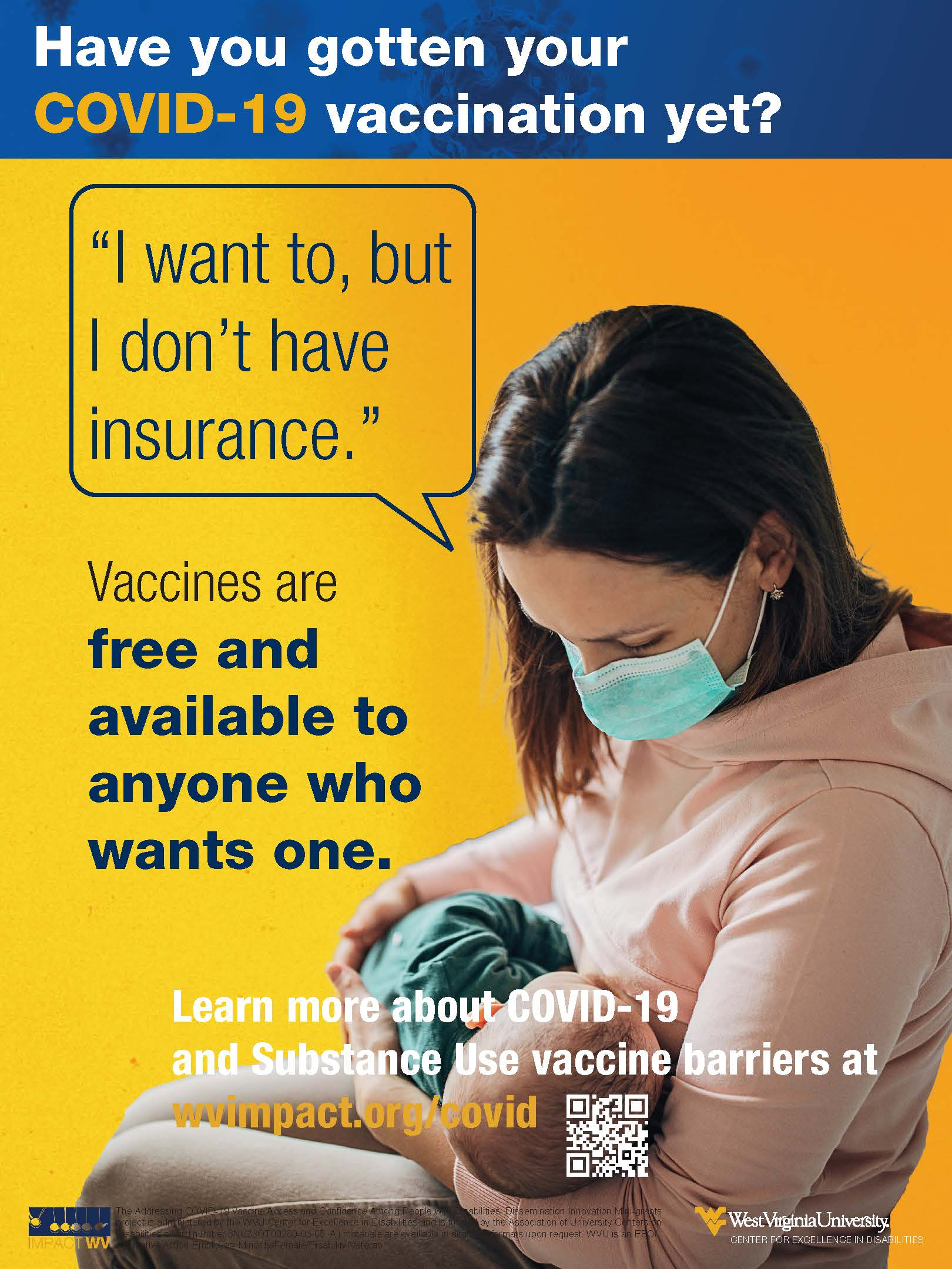 an image with the vaccines are free and available text featuring a mother holding her infant