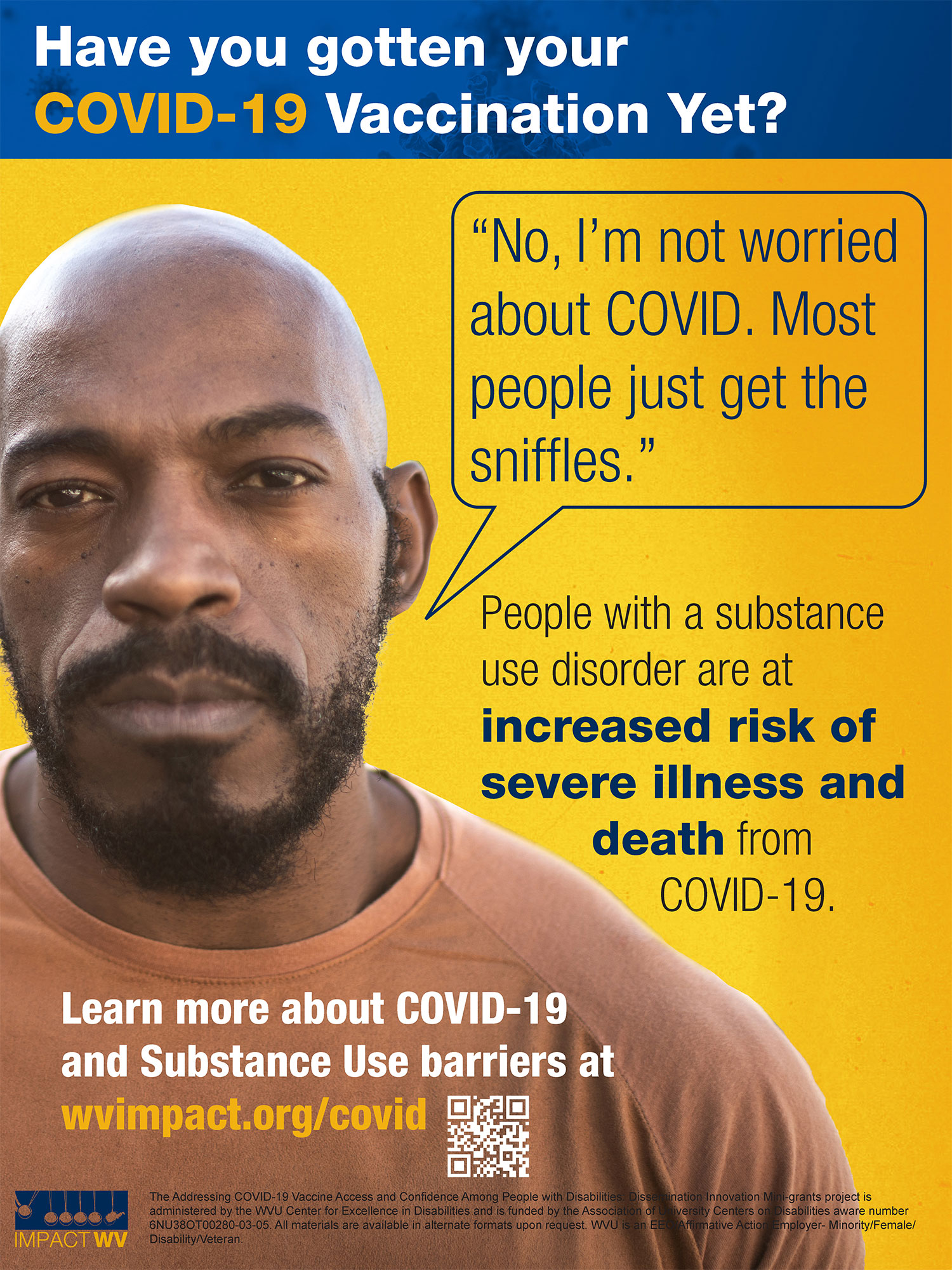an image with the People with Substance Use Disorder are at Increased risk text featuring an African American Man