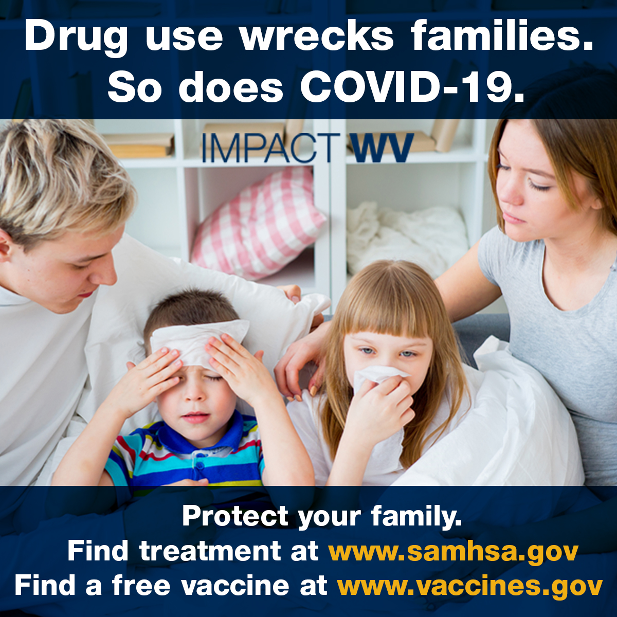 an image with the drug use wrecks families text featuring a happy family