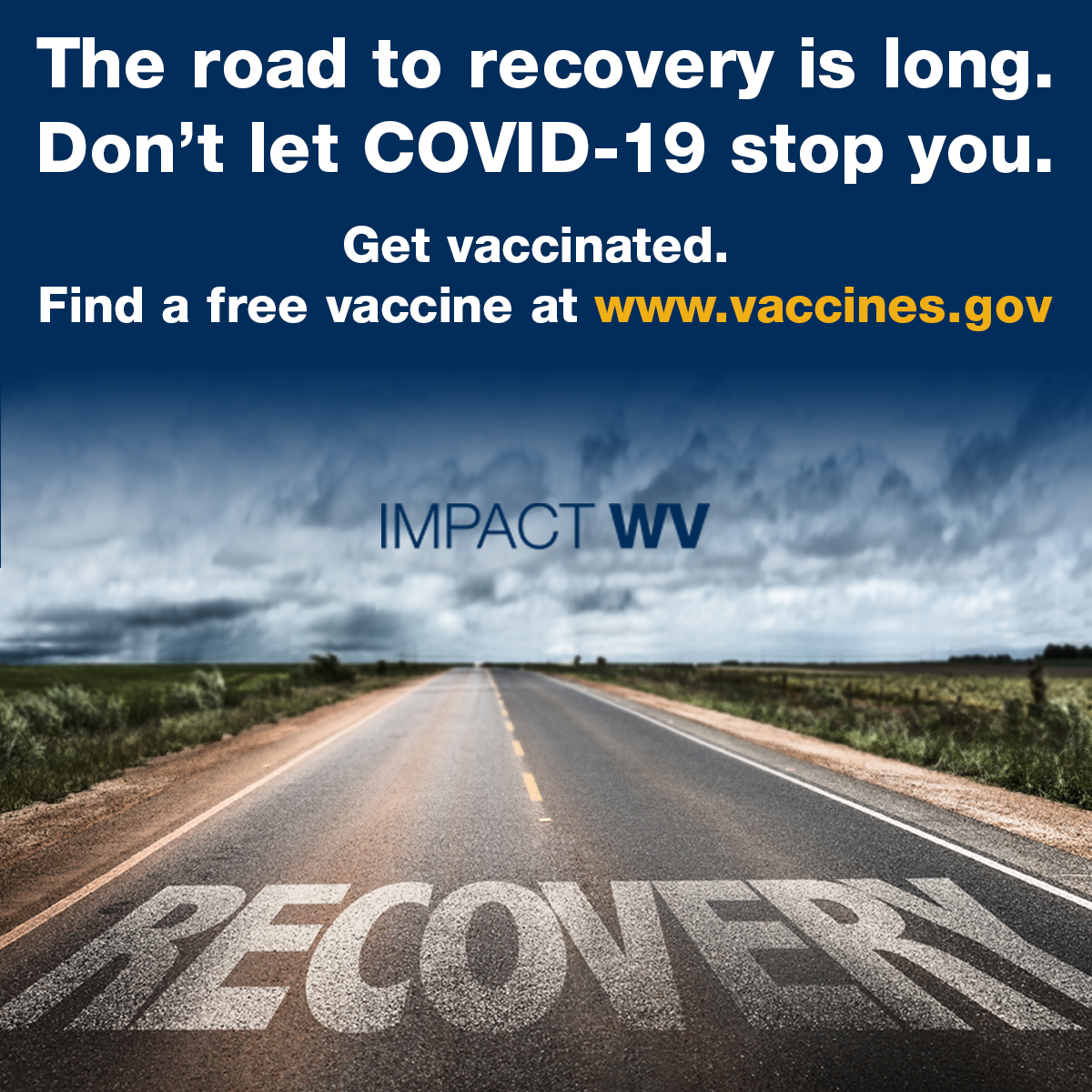 an image with the road to recovery is long text featuring a desert road